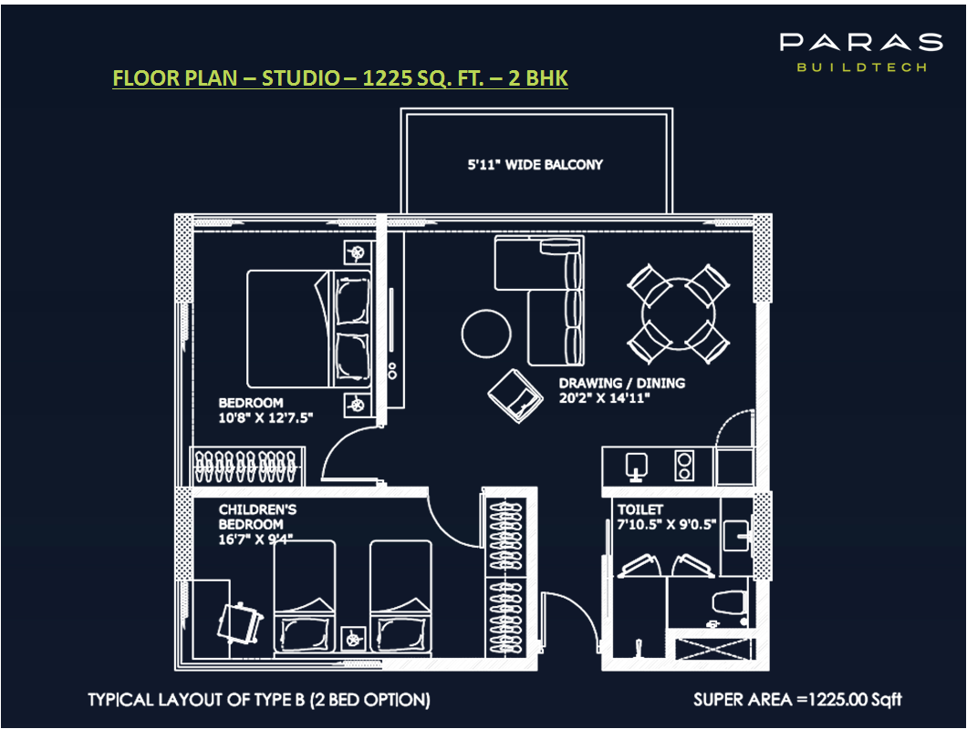 2bHK Floor Plan 1225 Sqft