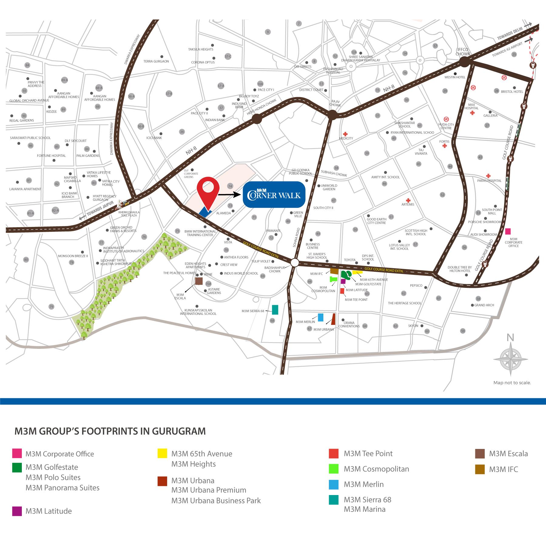 m3m-corner-walk-location-map
